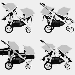 Geschwisterwagen / Zwillingswagen Gray/ Black