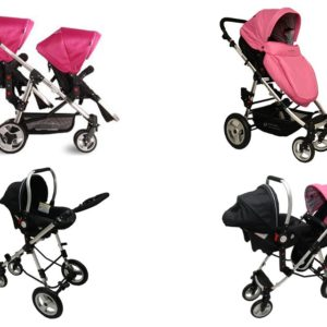 Geschwisterwagen / Zwillingswagen Pink / Black