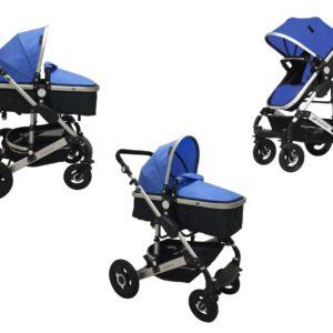 * BabyFiveStar KINDERWAGEN (BLUE/BLACK) GEFEDERT NEU OVP-