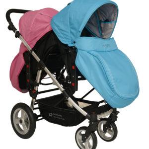 Geschwisterwagen / Zwillingswagen Pink / Blue Schwarzes Gestell!