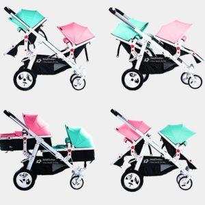Geschwisterwagen / Zwillingswagen Türkis / Pink