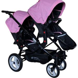 Geschwisterwagen / Zwillingswagen Pink / Black Schwarzes Gestell!