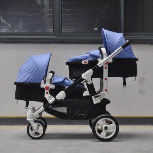 Geschwisterwagen / Zwillingswagen Blue Schwarzes Gestell!